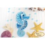 Bead Art Brooch Kit - Turquoise Seahorse