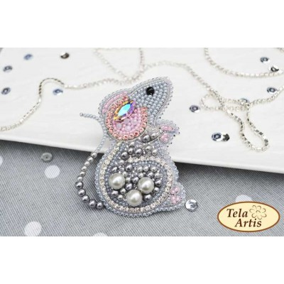 Bead Art Brooch Kit - Mouse