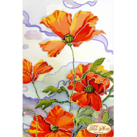 Bead Art Kit - White Sky Poppies (Batik)