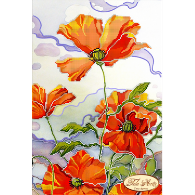 Bead Art Kit - White Sky Poppies (Batik)