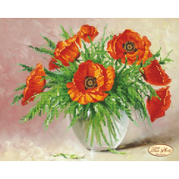 Bead Art Kit - Vase of Poppies (Summer Bouquet)