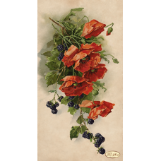 Bead Art Kit - Hanging Red Poppies with Blackberries