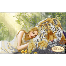 Bead Art Kit - Small Lady & Tiger (Midday Sleep)