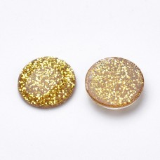 Cabochons with Glitter Powder - Gold Tone