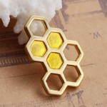 Honeycomb Charm - Gold Platted