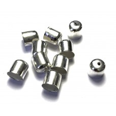 10mm Cord Ends - Silver Tone