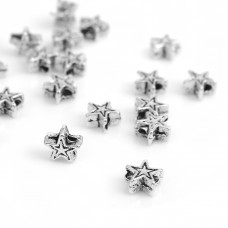 5mm Star Spacer Beads - Silver Tone