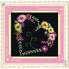 3D Pink Flower And Heart Pattern, Oxford Silk Ribbon Kit