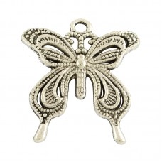 Butterfly Pendant/ Feature Charm – Silver Tone