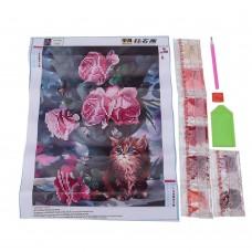 Rhinestone Art Kit - Cat With Flowers