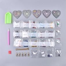 Rhinestone Art Kit - Heart Keyrings