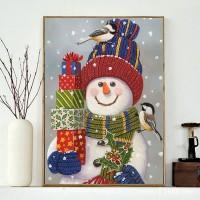 Rhinestone Art Kit - Snowman with Gifts