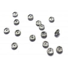 6mm Crystal Rhinestone Rondell - Silver Tone