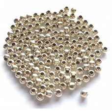 3mm Round Metal Beads - Silver Tone