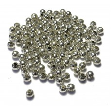 4mm Round Metal Beads – Silver Tone