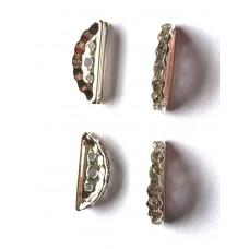 3 Hole Half Moon Spacer - Silver Tone