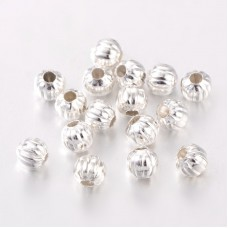 5mm Corrugated Spacer Beads - Silver Tone