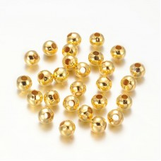5mm Round Metal Beads - Gold Tone