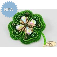 Bead Art Brooch Kit - Clover