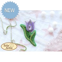 Bead Art Brooch Kit - Lilac Tulip