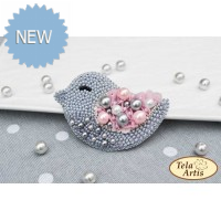 Bead Art Brooch Kit - Grey Bird