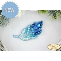 Bead Art Brooch Kit - Turquoise Feather