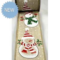 63mm Wired Snowman Burlap Printed Ribbon