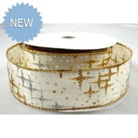 63mm Wired Glitter Star Printed Ribbon Gold & Silver