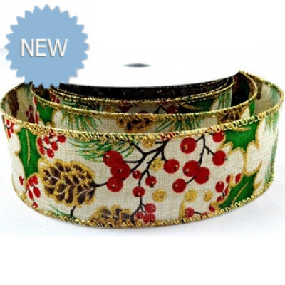 63mm Wired Holly Leaf & Berries Burlap Printed Ribbon