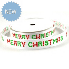 15mm White Merry Christmas Satin Ribbon