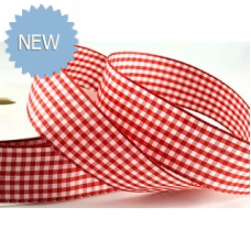 5mm Gingham Ribbon Red & White